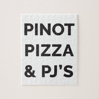 Pizza, Pinot and PJ's Funny Wine Print Jigsaw Puzzle