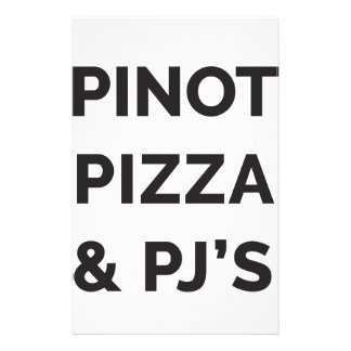 Pizza, Pinot and PJ's Funny Wine Print Stationery
