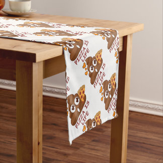 Pizza Poop Emoji Short Table Runner