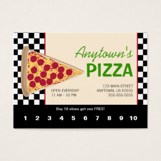 Pizza Slice & Black Checkerboard Pizza Loyalty Business Card