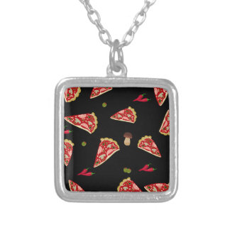Pizza slice pattern silver plated necklace