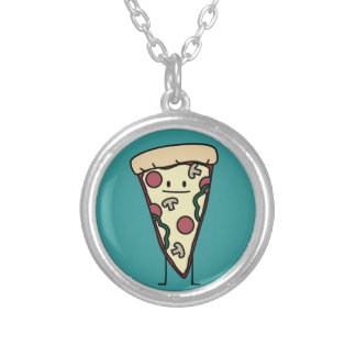 Pizza Slice Round Pendant Necklace