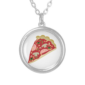 Pizza slice silver plated necklace