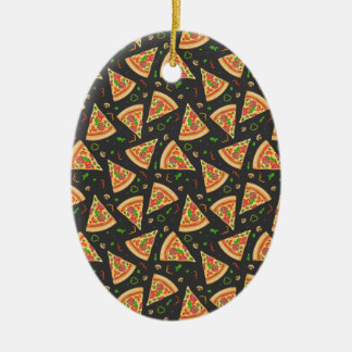 Pizza slices background ceramic oval decoration