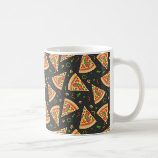 Pizza slices background coffee mug