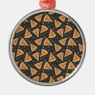 Pizza slices background metal ornament