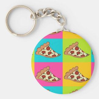 Pizza slices tiled design key ring