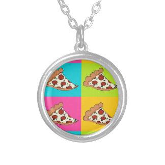 Pizza slices tiled design round pendant necklace