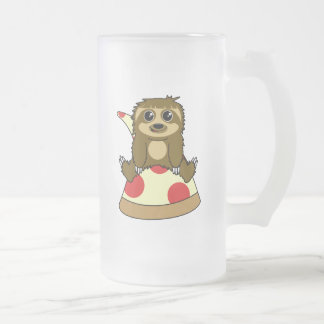 Pizza Sloth Frosted Glass Beer Mug