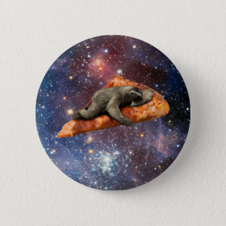 Pizza Sloth In Space 6 Cm Round Badge