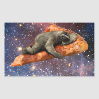 Pizza Sloth In Space Rectangular Sticker