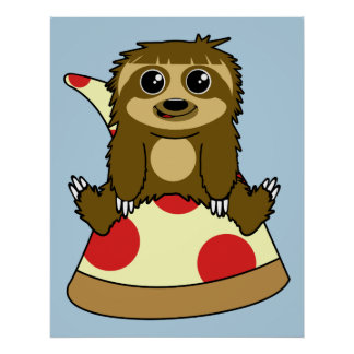 Pizza Sloth Poster