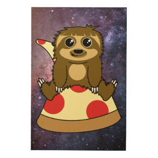 Pizza Sloth Wood Print