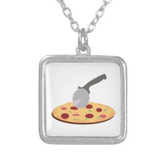 Pizza Square Pendant Necklace