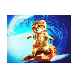 Pizza Surfing Cat Canvas Print