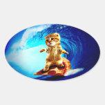 Pizza Surfing Cat Oval Sticker