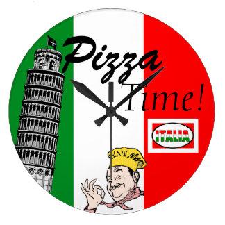 Pizza Time-Italian Flag Large Clock