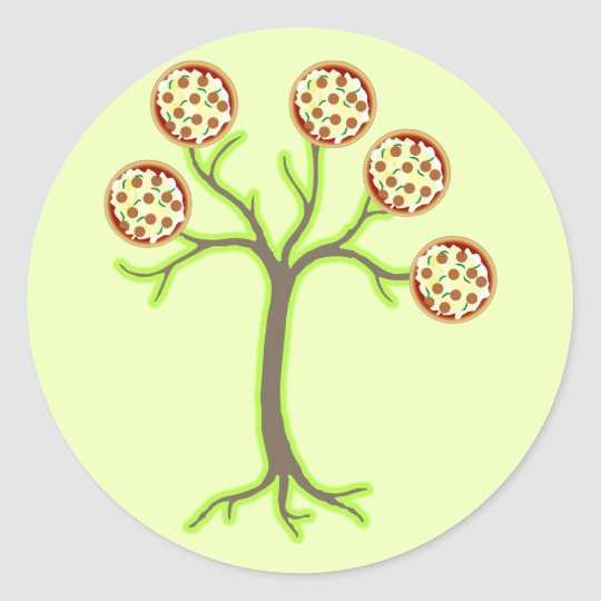 pizza tree classic round sticker