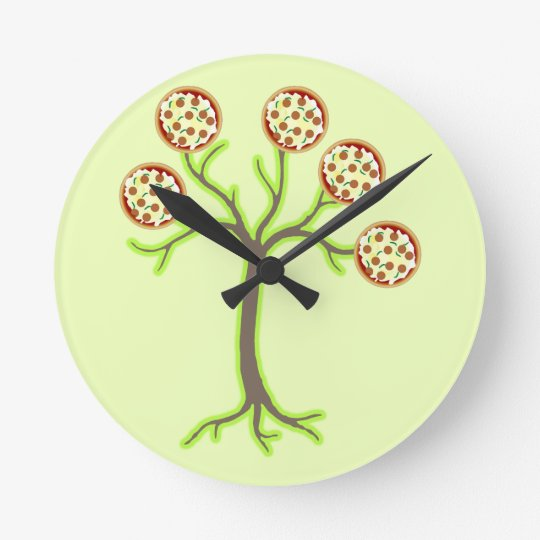 pizza tree round clock