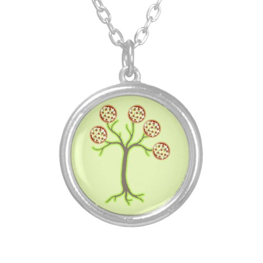 pizza tree silver plated necklace