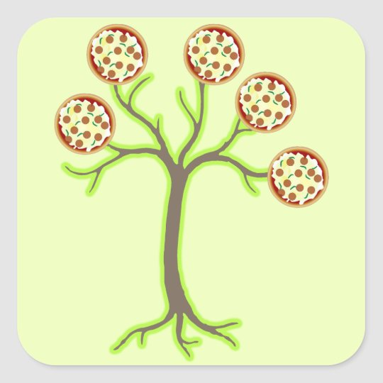 pizza tree square sticker