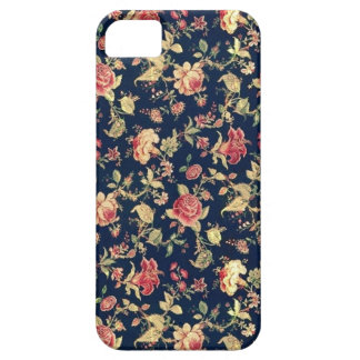 PJ navy and pink retro rose print. iPhone 5 Cover