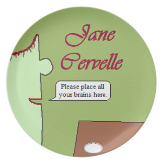 Place Brains Here Melamine Plate ft. Jane