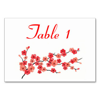 Place Card with Cherry Blossoms