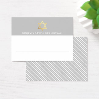 PLACE CARDS Bar Mitzvah gold star of david gray