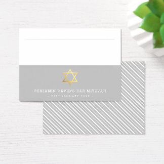 PLACE CARDS Bar Mitzvah gold star of david grey