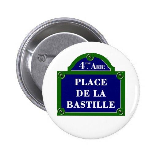 Place de la Bastille, Paris Street Sign Pinback Buttons