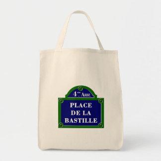 Place de la Bastille, Paris Street Sign Grocery Tote Bag