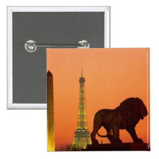 Place de la Concorde; Eiffel Tower; Obelisk; 15 Cm Square Badge