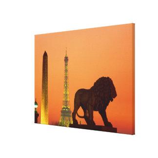 Place de la Concorde; Eiffel Tower; Obelisk; Gallery Wrap Canvas