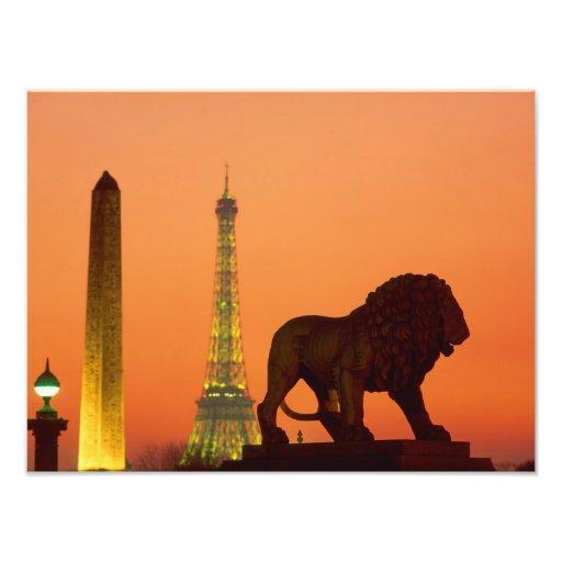 Place de la Concorde; Eiffel Tower; Obelisk; Art Photo