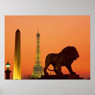 Place de la Concorde; Eiffel Tower; Obelisk; Poster