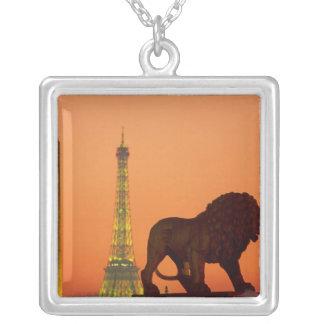 Place de la Concorde; Eiffel Tower; Obelisk; Square Pendant Necklace