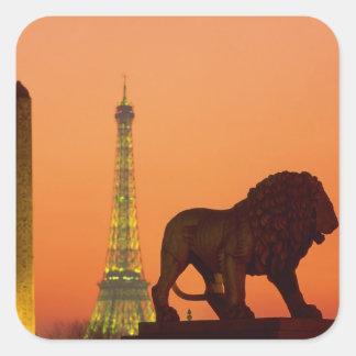Place de la Concorde; Eiffel Tower; Obelisk; Square Sticker