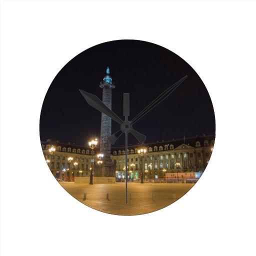 Place de la concorde in Paris at night Round Clock