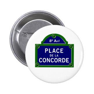 Place de la Concorde Paris Street Sign Pinback Button