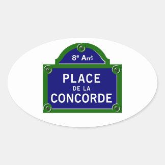 Place de la Concorde, Paris Street Sign Oval Sticker