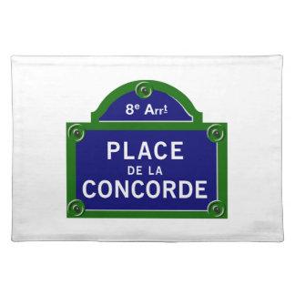 Place de la Concorde, Paris Street Sign Place Mat