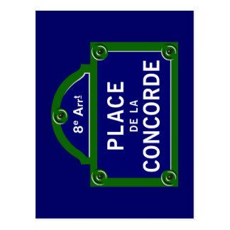 Place de la Concorde, Paris Street Sign Postcard