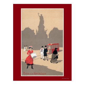 Place de la Republique Art Deco Scene Postcard