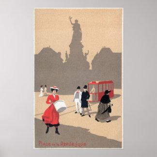 Place de la Republique Art Deco Scene Poster