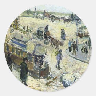 Place de la Republique, Rouen (with Tramway) Round Sticker