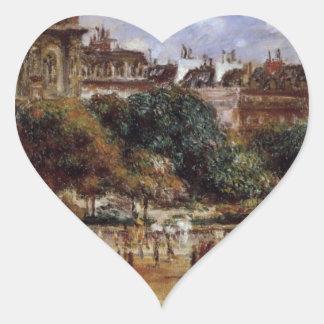 Place de la Trinite by Pierre-Auguste Renoir Heart Sticker