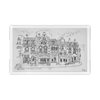 Place du general de Gaulle | Bailleul, France Acrylic Tray