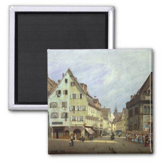 Place du Marche-aux-Fruits, Colmar, 1875 Square Magnet