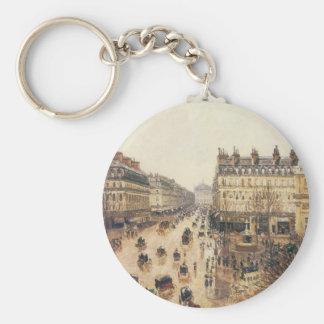 Place du Théâtre Français Paris Rain by Pissarro Keychain